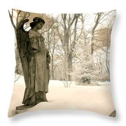 Dreamy Surreal Angel Sepia Nature Scene Throw Pillow