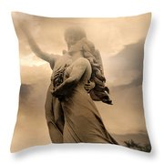 Dreamy Surreal Guardian Angels Ascent To Heaven Throw Pillow