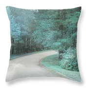 Dreamy Teal Aqua Blue Nature Trees Throw Pillow