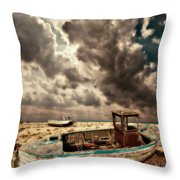 Dreamy Wrecked Wooden Fishing Boats Throw Pillow