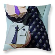 Dress Shirt Cupcakes Throw Pillow by Garry Gay