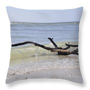 Driftwood In The Surf Throw Pillow