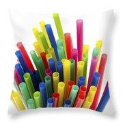 Drinking Straws Throw Pillow