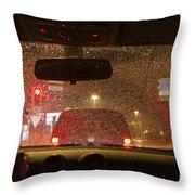 Driving A Car At Night Throw Pillow