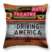 Driving America Douglas Auto Theatre Throw Pillow