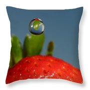Droplet Falling On A Strawberry Throw Pillow