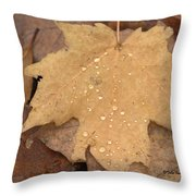 Drops On A Golden Leaf  Throw Pillow