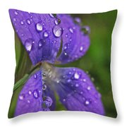 Drops On The Purple Flower Throw Pillow