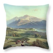 Drover On Horseback With His Cattle In A Mountainous Landscape With Schloss Anif Salzburg And Beyond Throw Pillow