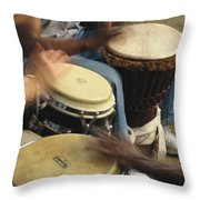 Drummers Of Varied Backgrounds Join Throw Pillow