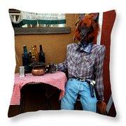 Drunk Werewolf Diner Throw Pillow