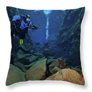 Dry Suit Divers In Gin Clear Waters Throw Pillow
