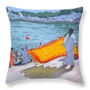 Drying Sari Pushkar  Throw Pillow