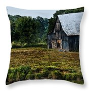 Drying Tobacco Barn Throw Pillow