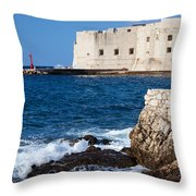 Dubrovnik Fortification And Bay Throw Pillow