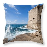 Dubrovnik Fortification And Pier Throw Pillow