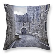 Dubrovnik In The Rain - Old City Throw Pillow