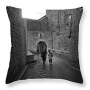 Dubrovnik In The Rain Throw Pillow