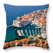 Dubrovnik Old City Aerial View Throw Pillow