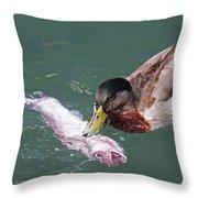 Duck Fishing Throw Pillow