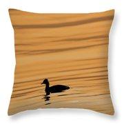Duck On Golden Water Throw Pillow