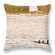 Duck Sailing Throw Pillow