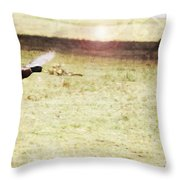 Duck Taking Off Throw Pillow