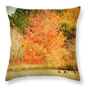 Ducks In An Autumn Pond Throw Pillow