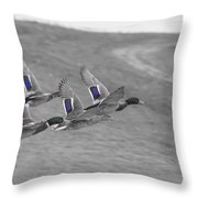 Ducks In Flight V1 Throw Pillow