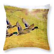 Ducks In Flight V4 Throw Pillow