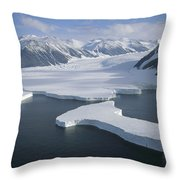 Dugdale And Murray Glaciers Antarctica Throw Pillow by Tui DeRoy