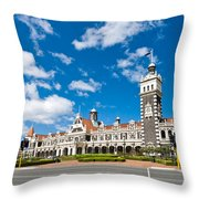 Dunedin Railway Station During A Sunny Day  Throw Pillow