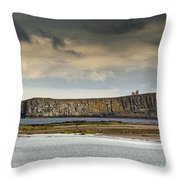 Dunstanburgh Castle On A Hill Under A Throw Pillow
