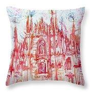 Duomo City Of Milan In Italy Portrait Throw Pillow