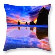 Dusk At Cannon Beach Throw Pillow