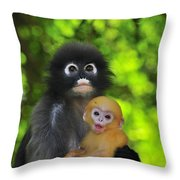 Dusky Leaf Monkey And Baby Throw Pillow