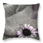 Dusky Megaboots Throw Pillow by Joan Carroll