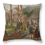 Dutch & Native American Trade Throw Pillow