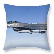Dutch F-16am During A Combat Air Patrol Throw Pillow