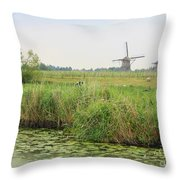 Dutch Landscape With Windmills And Cows Throw Pillow by Carol Groenen