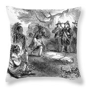 Dutch-native American Fur Trade Throw Pillow
