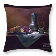 Dutch Roemer With Bread And Grapes Throw Pillow