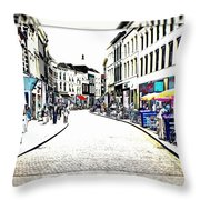 Dutch Shopping Street- Digital Art Throw Pillow