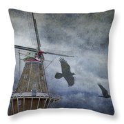 Dutch Windmill With Ravens Throw Pillow