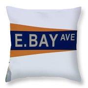 E. Bay Ave Throw Pillow