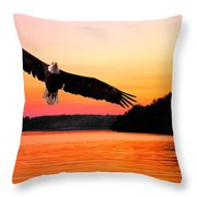 Eagle At Break Of Dawn Throw Pillow