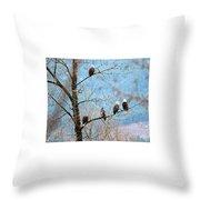 Eagle Family Throw Pillow