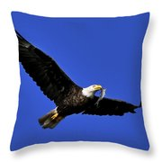 Eagle Fish In Mouth Throw Pillow