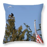 Eagle Rallies Round The Flagpole Throw Pillow