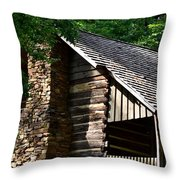 Early 19th Century Log Cabin Throw Pillow